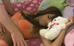 Slumbering ebony babe receives a hard learn of
