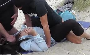 Beach gangbangs with naughty slutwife Marion