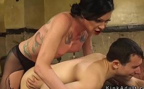 Tranny in pantyhose anal banging dude