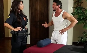 Bigtitted police lassie fucked during knead