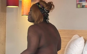 Hot ebony bbw tranny enjoys jerking off