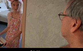 Perverse elderly geezer fucks slutty young hotel young lady