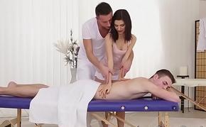 Massage  turns into swinging both ways triple