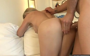 Fat titted blonde shemale Franchezka gets her anal smashed