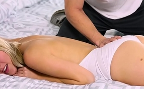 Massage babe rubbed at the pussyfucking