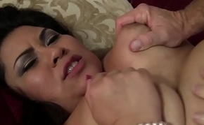 Fat ass Filipina is pressing big cock in her pussy and mouth